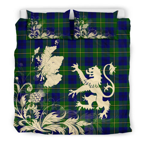 Johnston Modern Tartan Scotland Lion Thistle Map Bedding Set HJ4