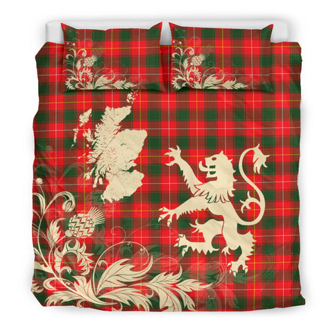 MacPhee Modern Tartan Scotland Lion Thistle Map Bedding Set HJ4