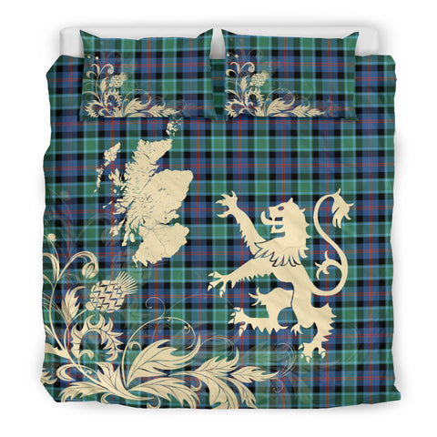 MacTaggart Ancient Tartan Scotland Lion Thistle Map Bedding Set HJ4