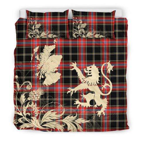Norwegian Night Tartan Scotland Lion Thistle Map Bedding Set HJ4