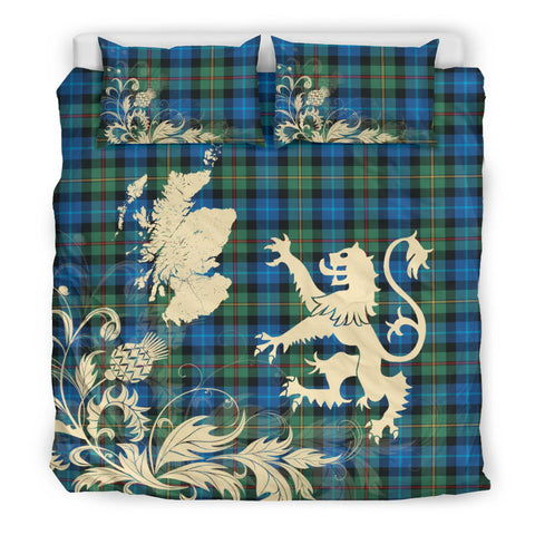 Image of Smith Ancient Tartan Scotland Lion Thistle Map Bedding Set HJ4