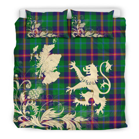 Image of Young Modern Tartan Scotland Lion Thistle Map Bedding Set HJ4