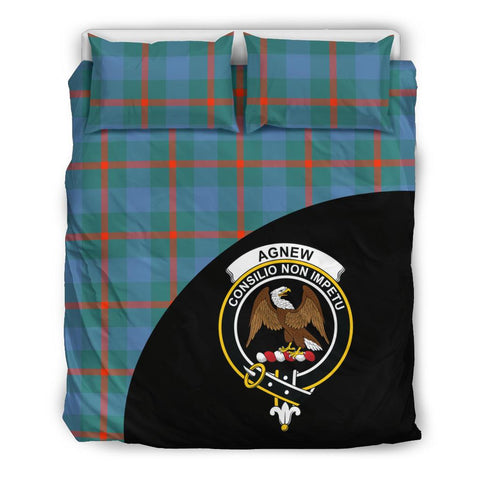 Agnew Ancient Tartan Clan Badge Bedding Set Wave Style
