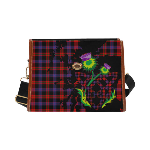 Brown Modern Tartan Map & Thistle Waterproof Canvas Handbag| Hot Sale