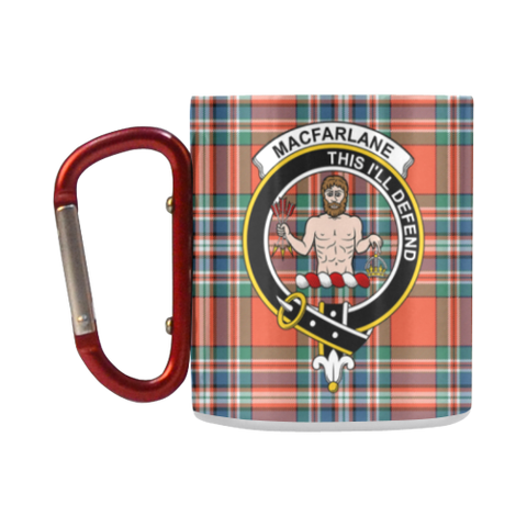 Macfarlane Ancient Tartan Mug Classic Insulated - Clan Badge K7