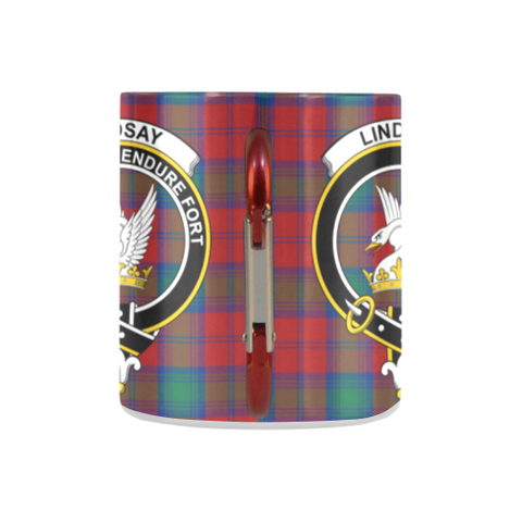 Image of Lindsay Modern Tartan Mug Classic Insulated - Clan Badge K7