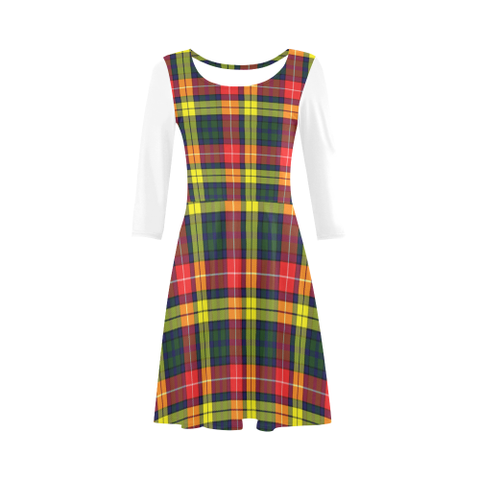 Buchanan Modern Tartan 3/4 Sleeve Sundress | Exclusive Over 500 Clans