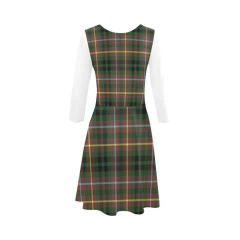 Image of Buchanan Hunting Tartan 3/4 Sleeve Sundress | Exclusive Over 500 Clans