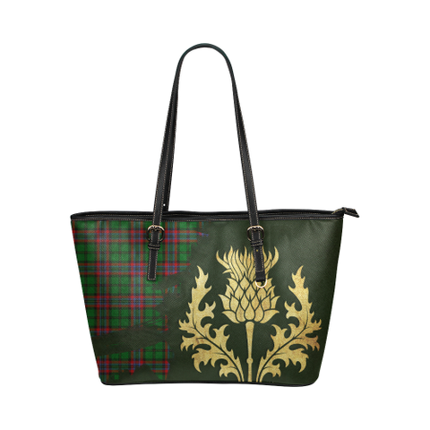 Mcgeachie Tartan - Thistle Royal Leather Tote Bag