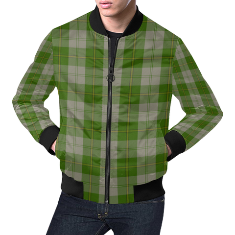Image of Cunningham Dress Green Dancers Tartan Bomber Jacket | Scottish Jacket | Scotland Clothing