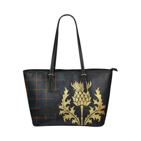 Image of Agnew Modern Tartan - Thistle Royal Leather Tote Bag
