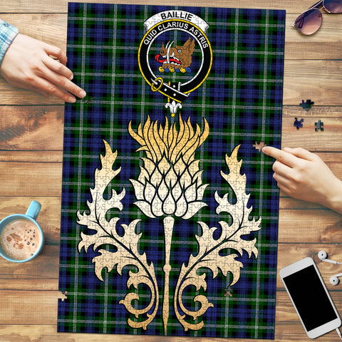 Image of Baillie Modern Clan Crest Tartan Thistle Gold Jigsaw Puzzle