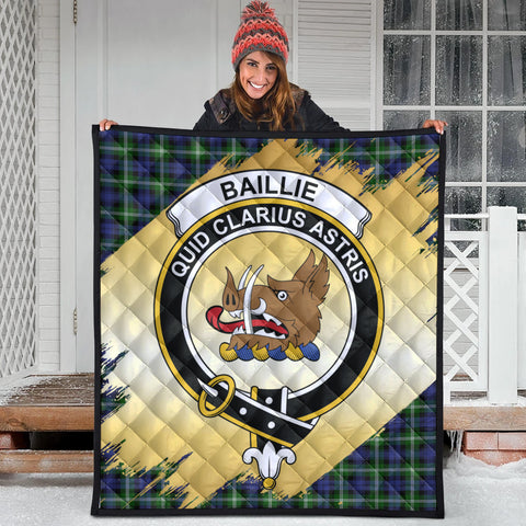 Image of Baillie Modern Clan Crest Tartan Scotland Gold Royal Premium Quilt