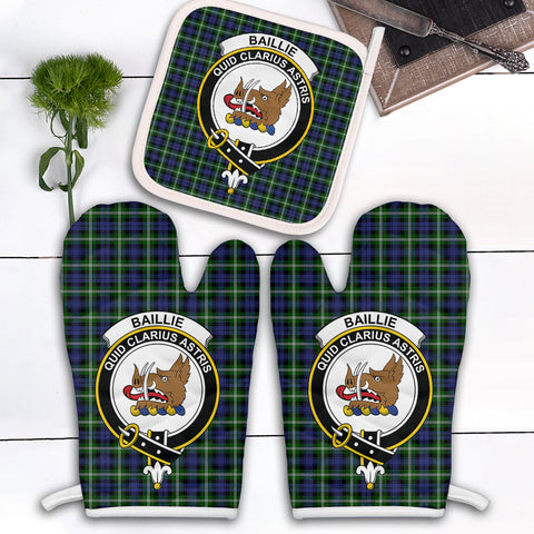 Baillie Modern Clan Crest Tartan Scotland Oven Mitt And Pot-Holder (Set Of Two)