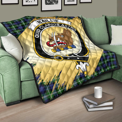 Image of Baillie Modern Clan Crest Tartan Scotland Gold Royal Premium Quilt K9