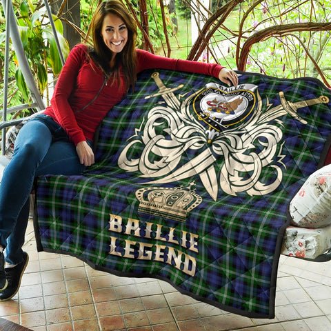 Baillie Modern Clan Crest Tartan Scotland Clan Legend Gold Royal Premium Quilt K9