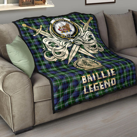 Image of Baillie Modern Clan Crest Tartan Scotland Clan Legend Gold Royal Premium Quilt K9