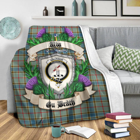 Image of Balfour Blue Crest Tartan Blanket Thistle  | Tartan Home Decor | Scottish Clan