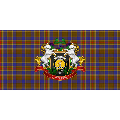 Image of Balfour Modern Crest Tartan Tablecloth Unicorn Thistle A30