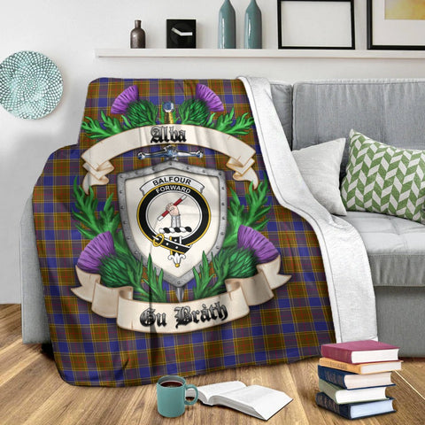 Image of Balfour Modern Crest Tartan Blanket Thistle  | Tartan Home Decor | Scottish Clan