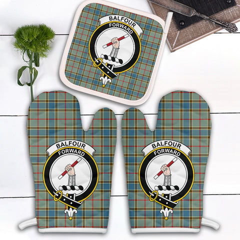 Image of Balfour Blue Clan Crest Tartan Scotland Oven Mitt And Pot-Holder (Set Of Two)