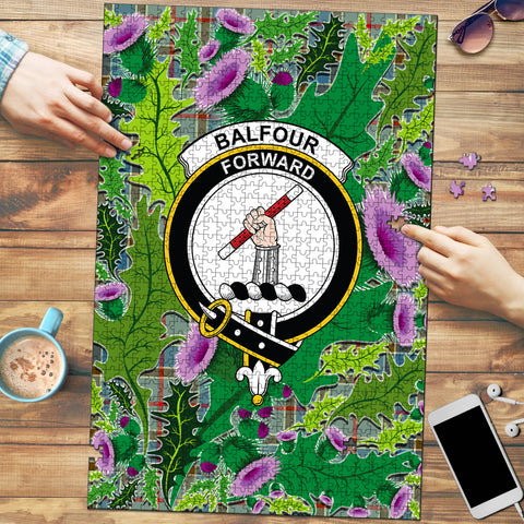 Image of Balfour Blue Clan Crest Tartan Thistle Pattern Scotland Jigsaw Puzzle