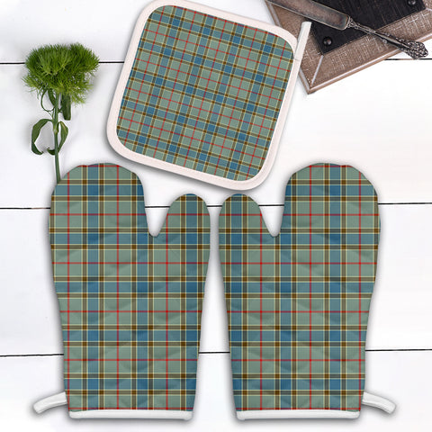 Balfour Blue Clan Tartan Scotland Oven Mitt And Pot-Holder (Set Of Two)