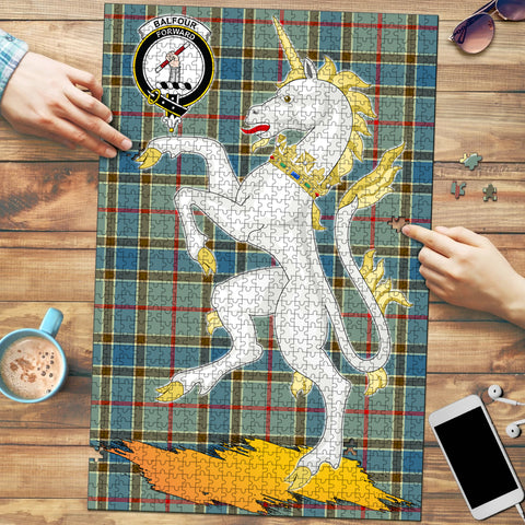 Image of Balfour Blue Clan Crest Tartan Unicorn Scotland Jigsaw Puzzle