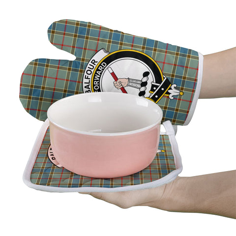 Balfour Blue Clan Crest Tartan Scotland Oven Mitt And Pot-Holder (Set Of Two)