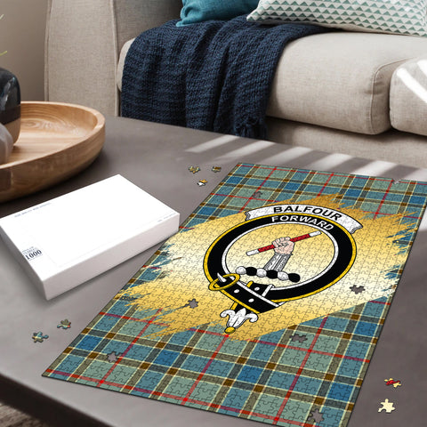 Image of Balfour Blue Clan Crest Tartan Jigsaw Puzzle Gold