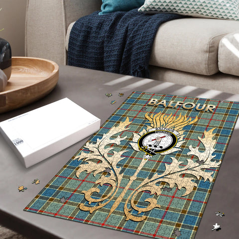 Image of Balfour Blue Clan Name Crest Tartan Thistle Scotland Jigsaw Puzzle