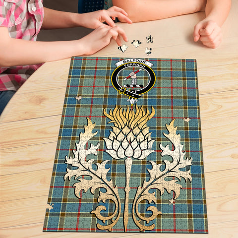 Image of Balfour Blue Clan Crest Tartan Thistle Gold Jigsaw Puzzle