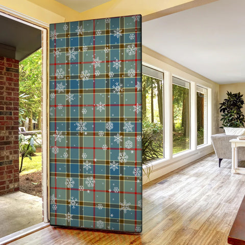 Balfour Blue Christmas Tartan Door Sock Cover