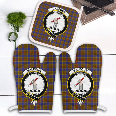Balfour Modern Clan Crest Tartan Scotland Oven Mitt And Pot-Holder (Set Of Two)