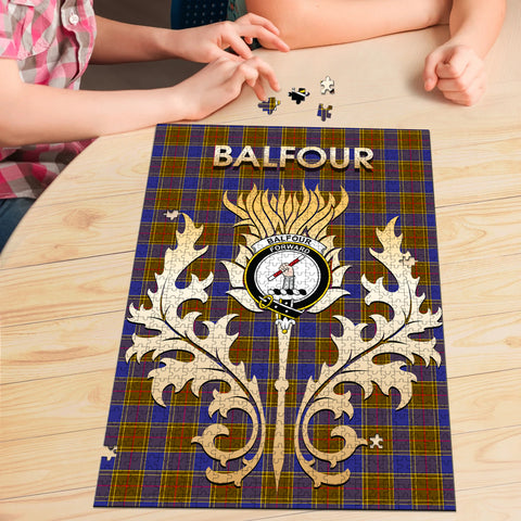 Image of Balfour Modern Clan Name Crest Tartan Thistle Scotland Jigsaw Puzzle