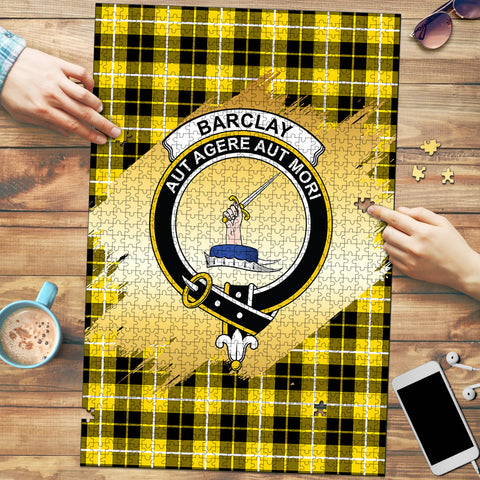 Barclay Dress Modern Clan Crest Tartan Jigsaw Puzzle Gold