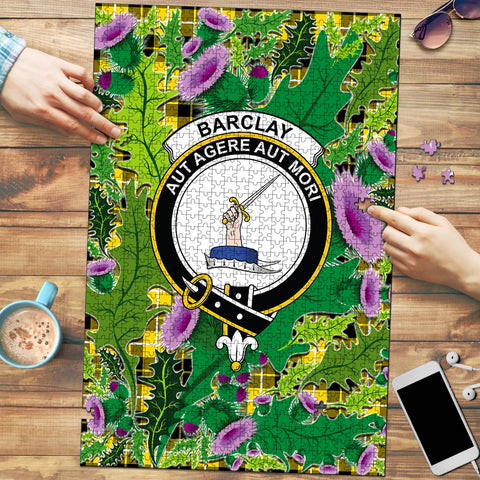 Barclay Dress Modern Clan Crest Tartan Thistle Pattern Scotland Jigsaw Puzzle