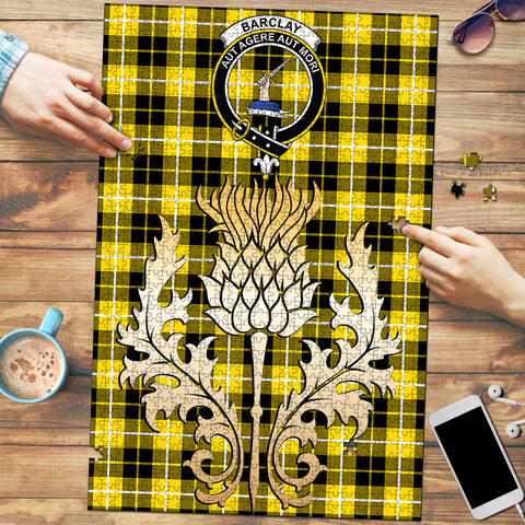 Barclay Dress Modern Clan Crest Tartan Thistle Gold Jigsaw Puzzle