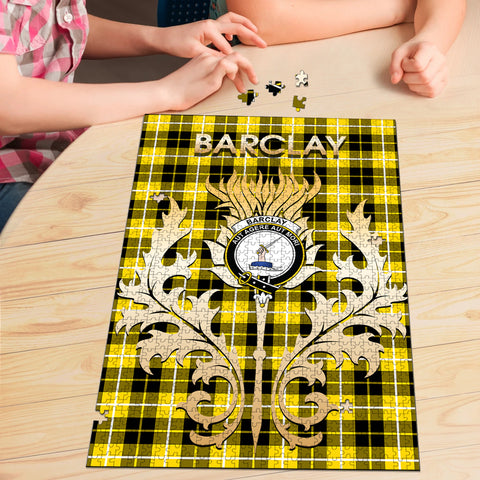 Barclay Dress Modern Clan Name Crest Tartan Thistle Scotland Jigsaw Puzzle