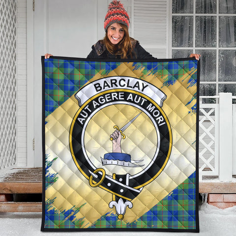 Barclay Hunting Ancient Clan Crest Tartan Scotland Gold Royal Premium Quilt