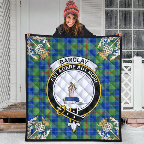 Barclay Hunting Ancient Clan Crest Tartan Scotland Thistle Gold Pattern Premium Quilt
