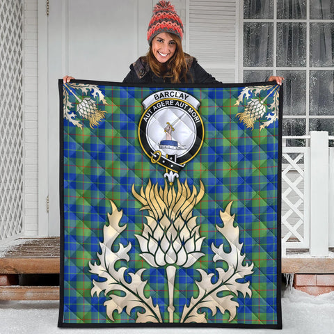 Barclay Hunting Ancient Clan Crest Tartan Scotland Thistle Gold Royal Premium Quilt