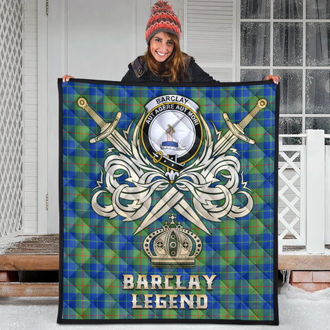 Barclay Hunting Ancient Clan Crest Tartan Scotland Clan Legend Gold Royal Premium Quilt