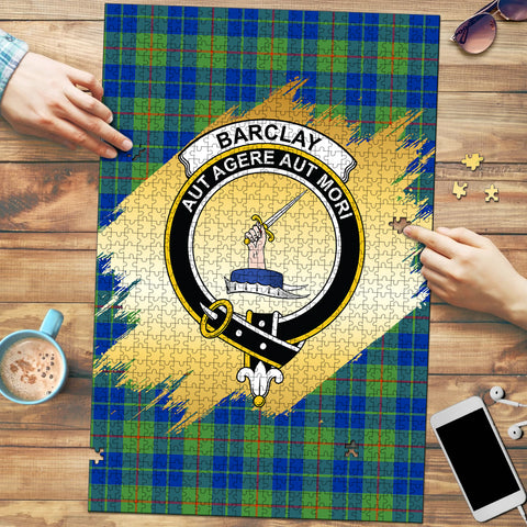 Barclay Hunting Ancient Clan Crest Tartan Jigsaw Puzzle Gold