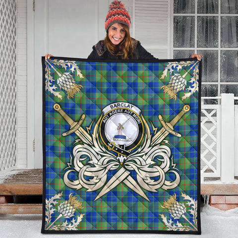 Barclay Hunting Ancient Clan Crest Tartan Scotland Thistle Symbol Gold Royal Premium Quilt