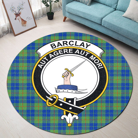 Barclay Hunting Ancient Clan Crest Tartan Round Rug