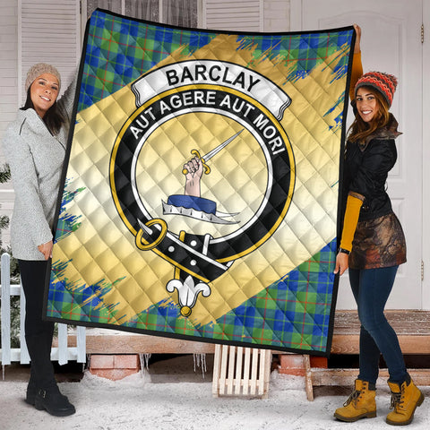 Barclay Hunting Ancient Clan Crest Tartan Scotland Gold Royal Premium Quilt K9