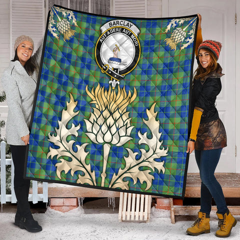 Barclay Hunting Ancient Clan Crest Tartan Scotland Thistle Gold Royal Premium Quilt K9