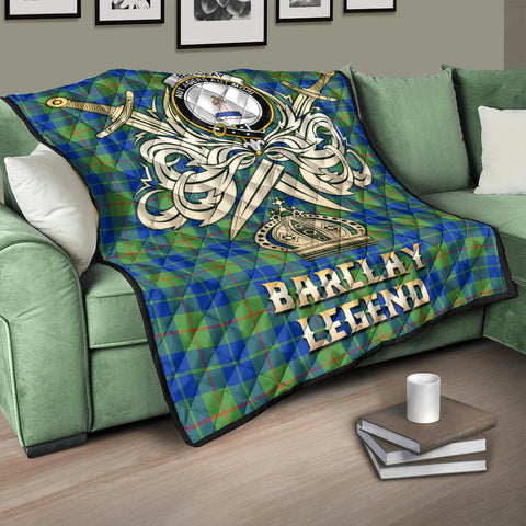 Image of Barclay Hunting Ancient Clan Crest Tartan Scotland Clan Legend Gold Royal Premium Quilt K9