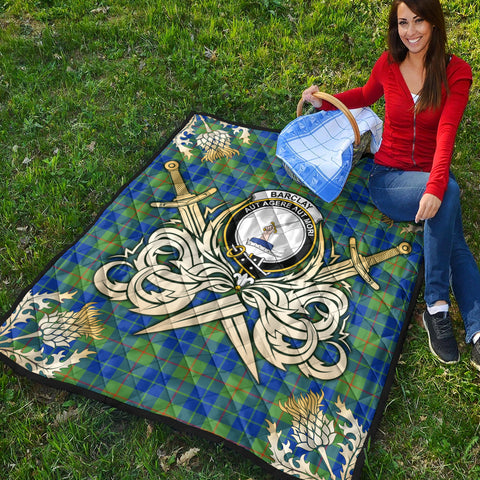 Barclay Hunting Ancient Clan Crest Tartan Scotland Thistle Symbol Gold Royal Premium Quilt K9